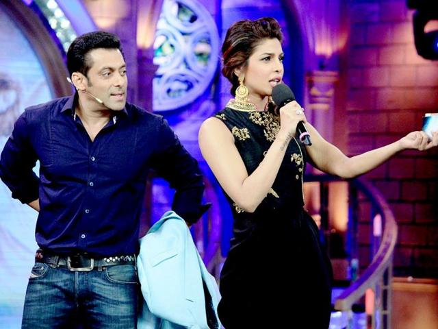 Priyanka Chopra promotes her upcoming film Krrish 3 on the sets of Bigg Boss 7.