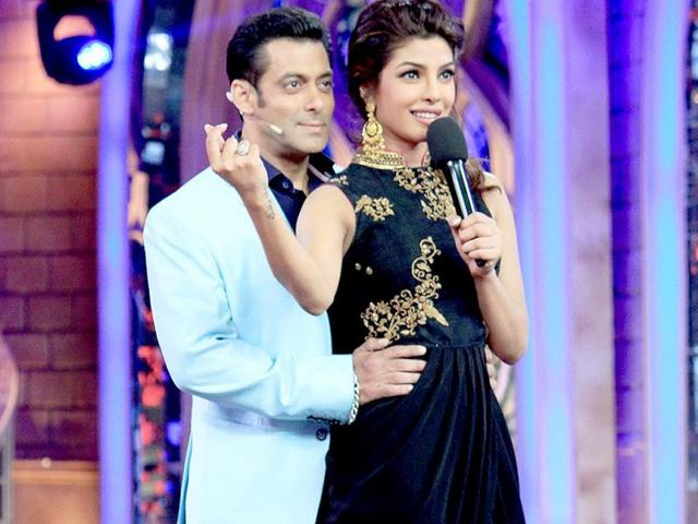 Salman Khan and Priyanka Chopra on the sets of Bigg Boss 7.