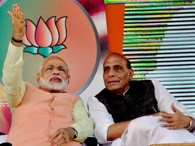 BJP president Rajnath Singh with Gujarat chief minister and BJP