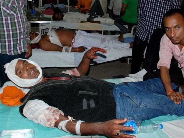 An injured man in the hospital after a series of bomb blasts took place at the venue of Narendra Modi