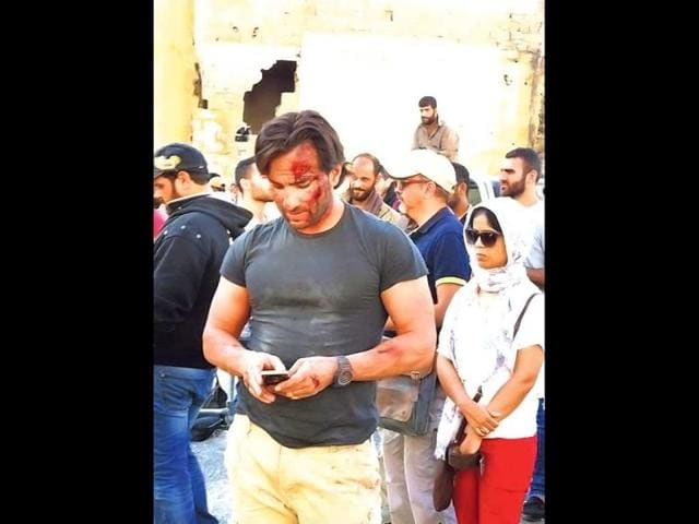 The makers are set to complete the shooting schedule by the end of October and the unit will return to India before Diwali. Saif Ali Khan on sets of Kabir Khan