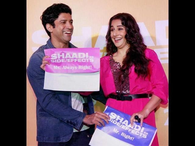 All-smiles-Vidya-Balan-and-Farhan-Akhtar-at-the-trailer-launch-of-Shaadi-Ke-Side-Effects-PTI-Photo