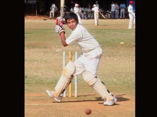 15-year-old-Prithvi-Shaw-in-action-at-a-Harris-Shield-match-in-Mumbai-Shaw-slammed-546-runs-to-break-Armaan-Jaffer-s-Harris-Shield-record-of-498-runs-PTI-Photo