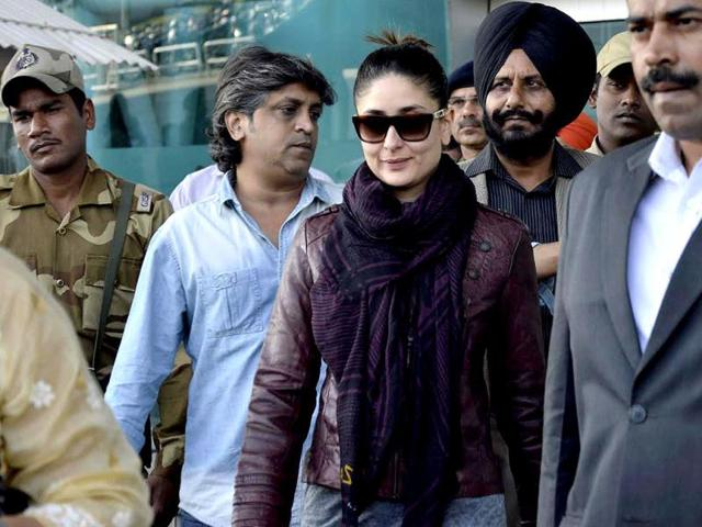 Kareena looks hot in a leather jacket. (AFP Photo)