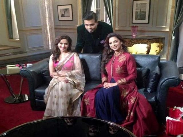Gulaab Gang actors Juhi Chawla and Madhuri Dixit also shared the couch with filmmaker Karan Johar. This is the fifth episode.