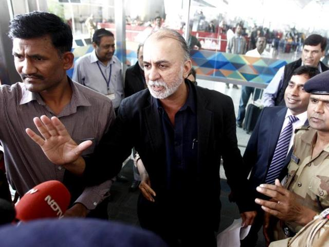 Tarun-Tejpal-founder-and-editor-in-chief-of-Tehelka--speaks-with-the-media-at-the-airport-on-his-way-to-Goa-in-New-Delhi-Reuters