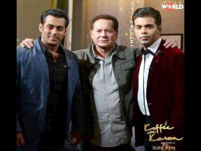 Salman Khan and dad Salim Khan pose with Karan Johar on the sets of the filmmaker