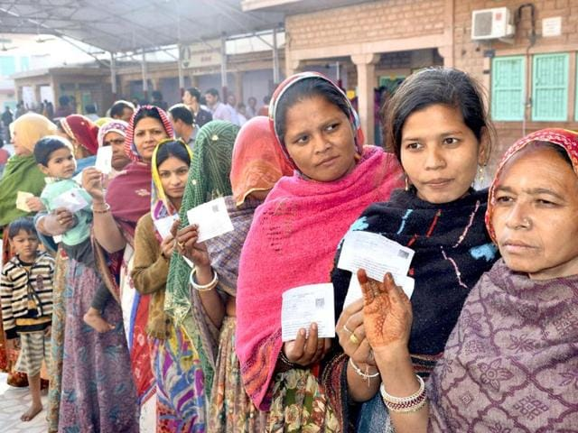 People-stand-in-a-queue-to-cast-their-vote-in-Jodhpur-PTI-photo