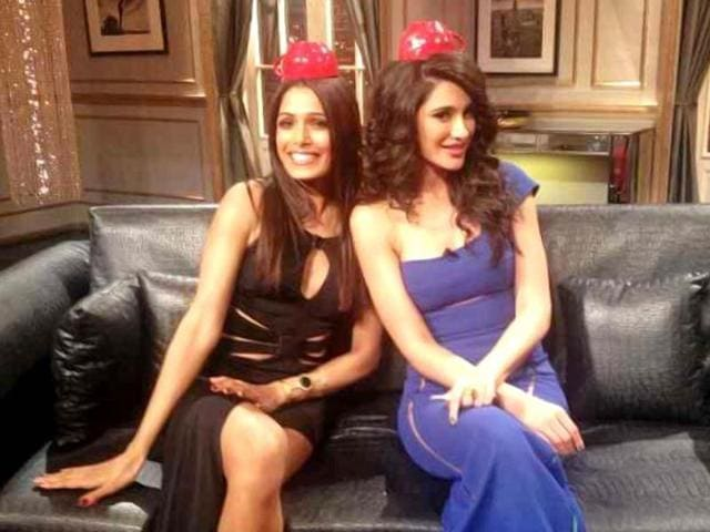 Karan Johar tweeted a picture of Nargis Fakhri and Freida Pinto on the sets of his talk show Koffee with Karan.