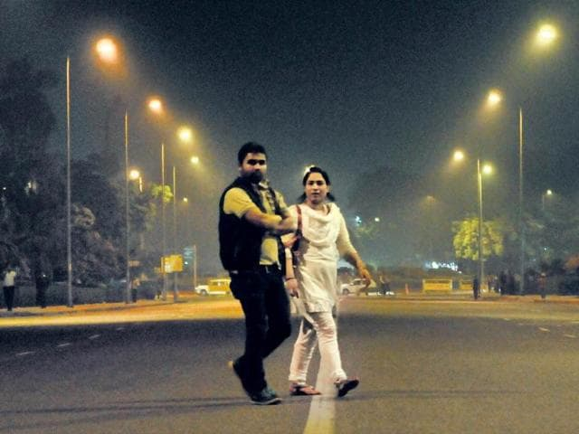 An-almost-deserted-Rafi-Marg-New-Delhi-Teams-of-HT-reporters-saw-no-woman-moving-alone-on-city-roads-late-in-the-night-Sunil-Saxena-HT-Photo