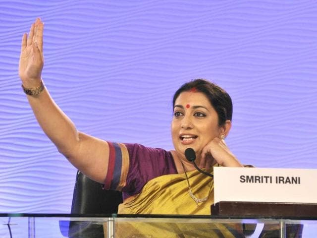 BJP-leader-Smriti-Irani-during-an-interview-at-her-Delhi-house-She-is-the-party-s-candidate-against-Congress-vice-president-Rahul-Gandhi-in-Amethi-Raj-K-Raj-HT-Photo