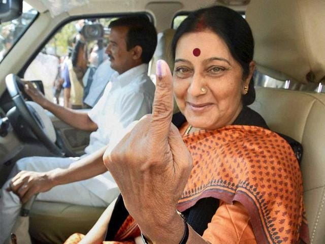 BJP leader Sushma Swaraj leaves after casting her vote for Assembly elections in Bhopal, Madhya Pradesh. (PTI)