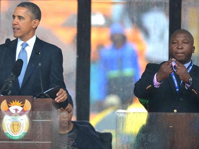 Nelson Mandela,signer at mandela's memorial,Barack Obama