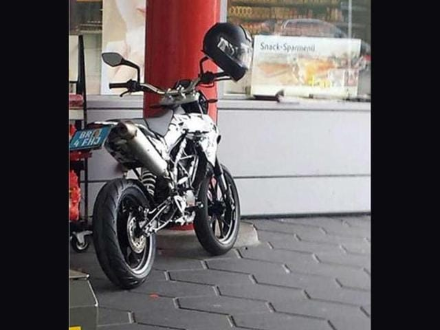 KTM's baby Supermotard being readied