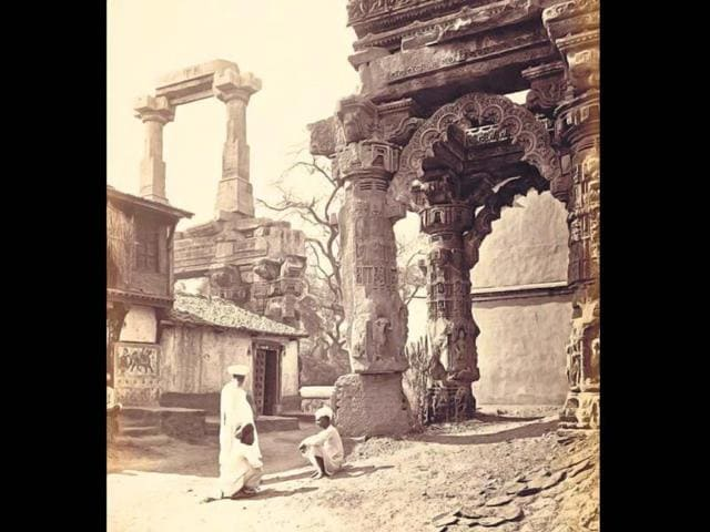 A 141-year-old photo of ruins of the 12th century Rudramal Shiv temple at Siddhapur. (Photo: Twitter/@GujaratHistory)