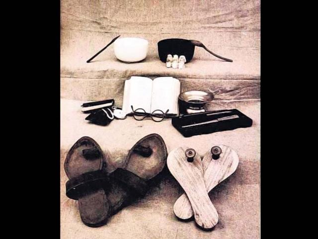 This picture shows all of Gandhi's worldly possessions.