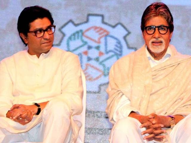 Sinking-their-five-year-old-differences-Maharashtra-Navnirman-Sena-MNS-chief-Raj-Thackeray-shares-dais-with-Amitabh-Bachchan-Their-tiff-began-when-Bachchan-became-the-brand-ambassador-of-Uttar-Pradesh