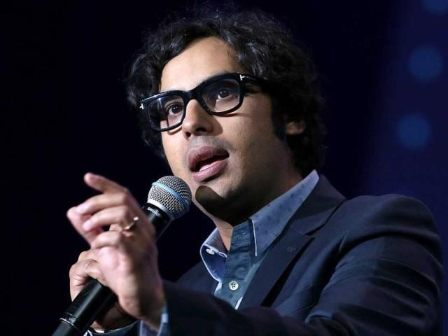 Actor-Kunal-Nayyar-speaks-during-a-keynote-address-by-Rupert-Stadler-Chairman-of-the-Board-of-Management-of-Audi-AG-at-the-2014-International-CES-at-The-Chelsea-at-The-Cosmopolitan-of-Las-Vegas-on-January-7-2014-in-Las-Vegas-Nevada-AFP