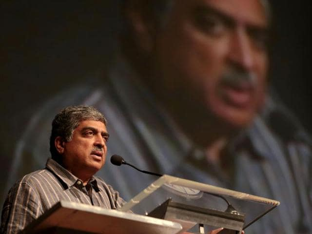 Infosys-co-founder-and-head-of-Aadhar-programme-Nandan-Nilekani-addresses-a-student-gathering-in-Bangalore-AFP-photo