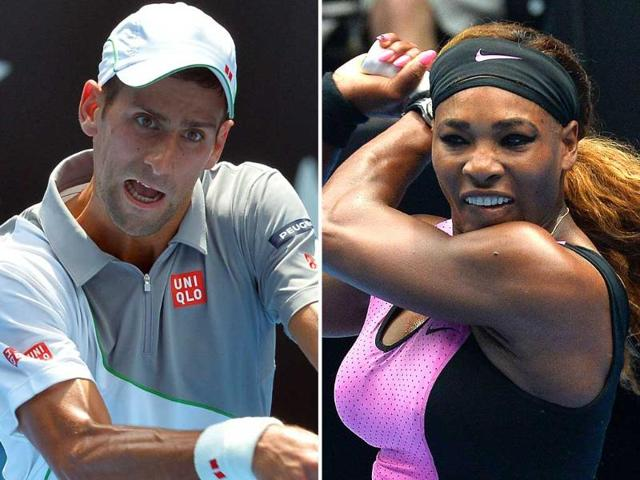 Serena-Williams-of-the-US-R-and-Serbia-s-Novak-Djokovic-in-action-at-the-Australian-Open-in-Melbourne-Park-AFP-Photo