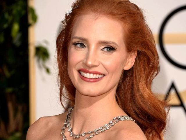 Jessica Chastain in a platinum necklace with diamonds from Bvlgari's Heritage Collection.