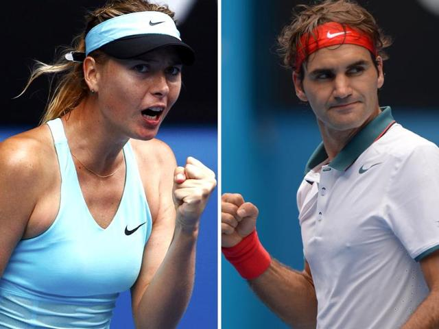 Maria-Sharapova-L--and-Roger-Federer-in-action-at-the-Australian-Open-Agencies