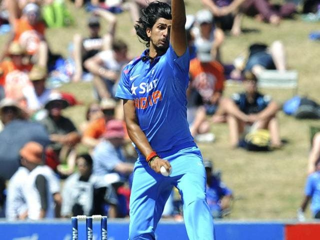 Ishant Sharma bowls against New Zealand during their first ODI at McLean Park, in Napier. (AP Photo)
