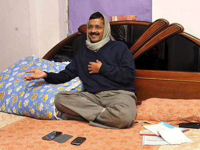 A-photo-of-Delhi-CM-Arvind-Kejriwal-at-his-Kaushambi-residence-in-Ghaziabad-Burhaan-Kinu-HT