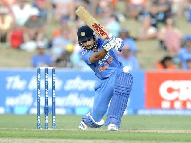 Virat Kohli plays a shot against New Zealand in their first ODI at McLean Park in Napier. (AP Photo)