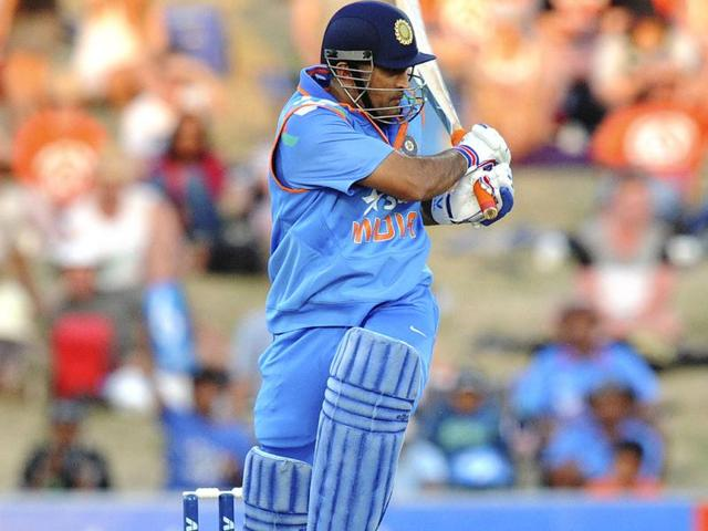 MS Dhoni bats against New Zealand in the first ODI at the McLean Park in Napier. (AP Photo)