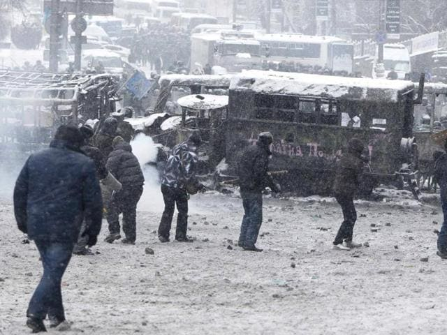 Kiev,Protest in Kiev,Grushevsky Street