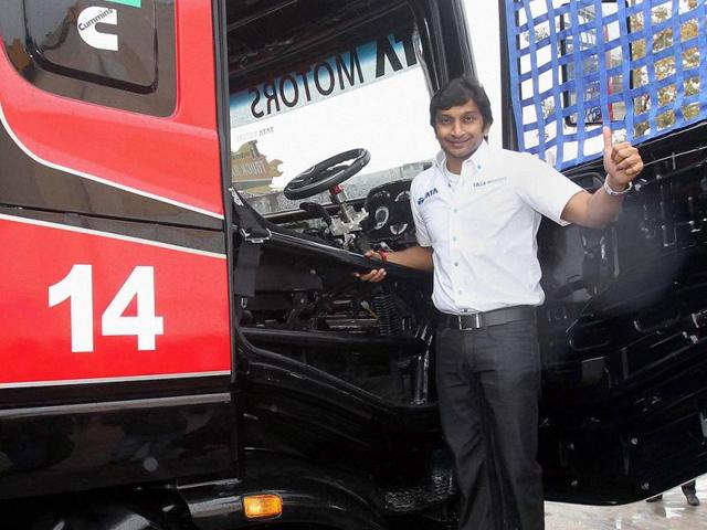 Car-racer-Narain-Karthikeyan-at-the-launch-of-Tata-Motors-T1-Prima-Truck-Racing-in-New-Delhi-on-Wednesday-Photo-PTI