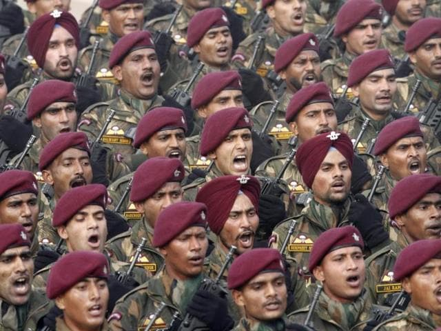 A special contingent of soldiers marching at the 65th Republic Day parade at Rajpath in New Delhi. (HT Photo/ Arvind Yadav)