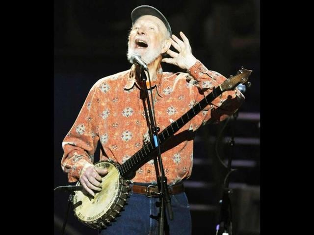 A-file-photo-of-folk-music-legend-Pete-Seeger-performing-during-a-concert-marking-his-90th-birthday-at-Madison-Square-Garden-in-New-York-AFP-photo