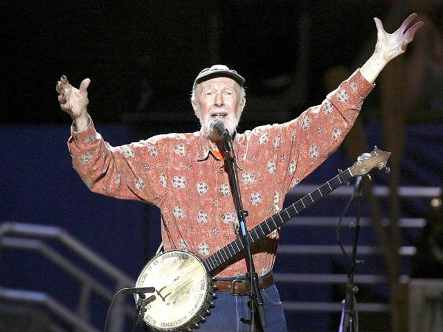 Musician Pete Seeger sings Amazing Grace during a concert celebrating his 90th birthday in New York in May 2009.