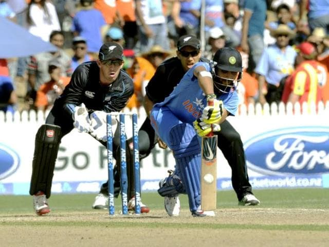 Ravindra Jadeja (C) bats as New Zealand
