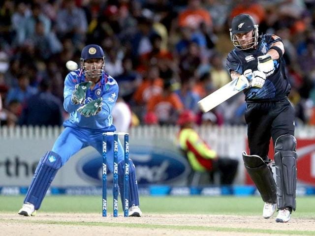 Ross Taylor of New Zealand celebrates his 100 runs during the fourth ODI against India at Seddon Park in Hamilton. (AFP Photo)