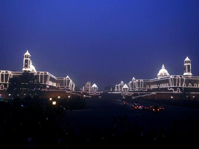 North Block and South Block buildings and the presidential palace are illuminated during the