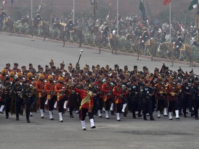 Marching bands from the Indian Army, Navy and Air Force march during the