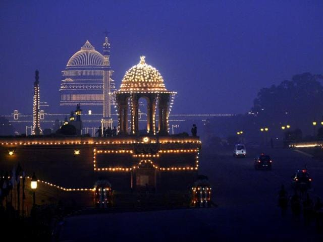 The Rashrtrapati Bhavan is illuminated during the