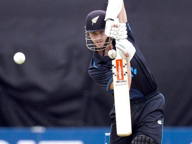 Kane Williamson of New Zealand bats during the fifth and final ODI against India in Wellington. (AFP Photo)