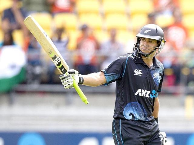 Ross Taylor of New Zealand celebrates his 50 during the fifth and final ODI against India in Wellington. (AFP Photo)