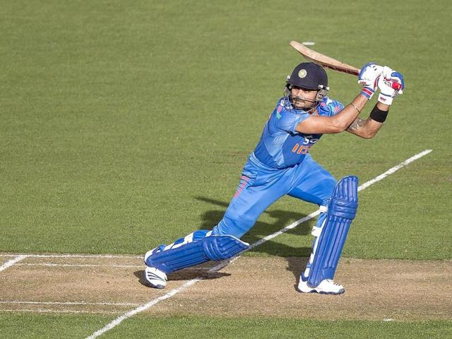 Virat Kohli bats during the fifth and final ODI against New Zealand in Wellington. (AFP Photo)