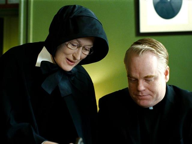 Philip Seymour Hoffman portrays Father Flynn and Meryl Streep portrays Sister Aloysius in a scene from Doubt. (AP Photo)