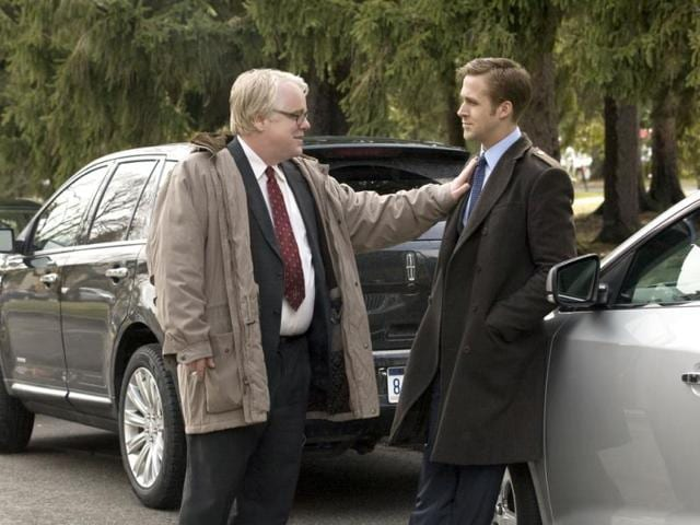 Philip Seymour Hoffman, left, and Ryan Gosling in a scene from Ides of March.(AP Photo)