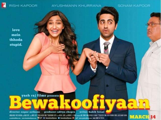Sonam-Kapoor-Ayushmann-Khuranna-in-a-poster-of-Bewakoofiyaan