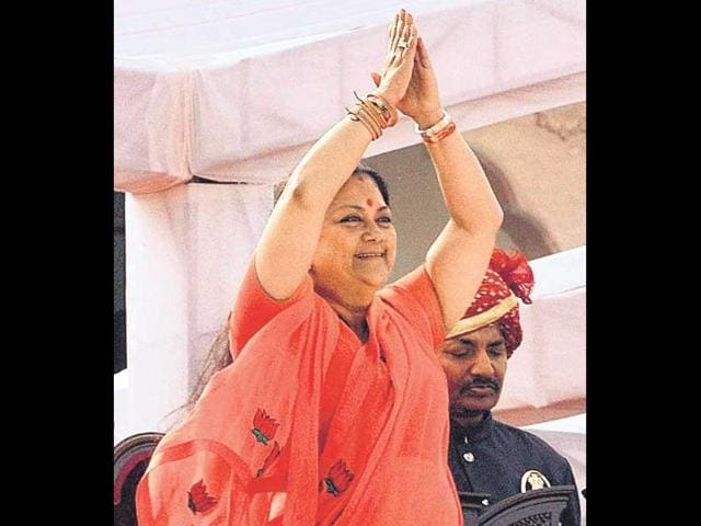 CM-Vasundhara-Raje-will-seek-to-quell-factionalism-within-the-Rajasthan-BJP-to-make-the-most-of-a-pro-Modi-wave-HT-file-photo