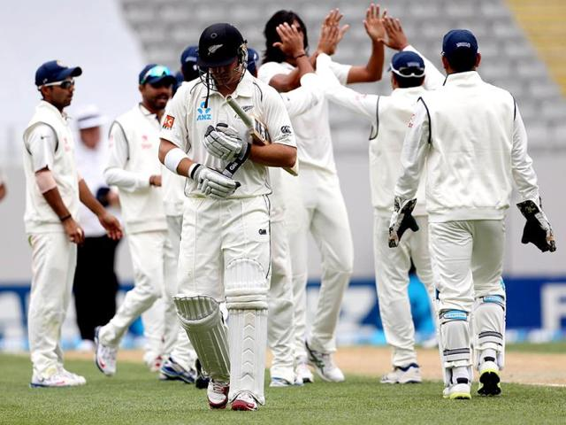 Corey Anderson of New Zealand is dismissed for 77 runs during day two of the first Test against India at Eden Park in Auckland. (AFP Photo)