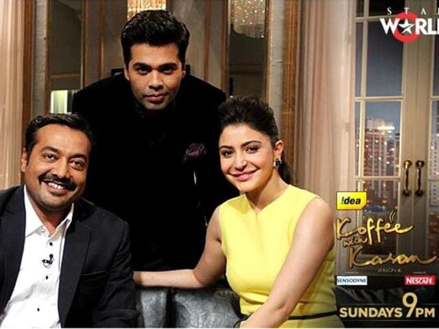 Anushka Sharma and Anurag Kahsyap pose with Karan Johar on his talk show Koffee with Karan.