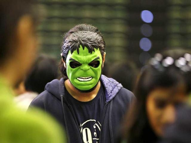 Ferocious! Meet The Incredible Hulk at the Comic Con Fest being held at Tyagraj Stadium in New Delhi (Raj K Raj/HT)